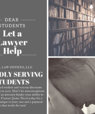 Back to school; affordable attorney; criminal defense; defense attorney; student attorney; student discount; student representation