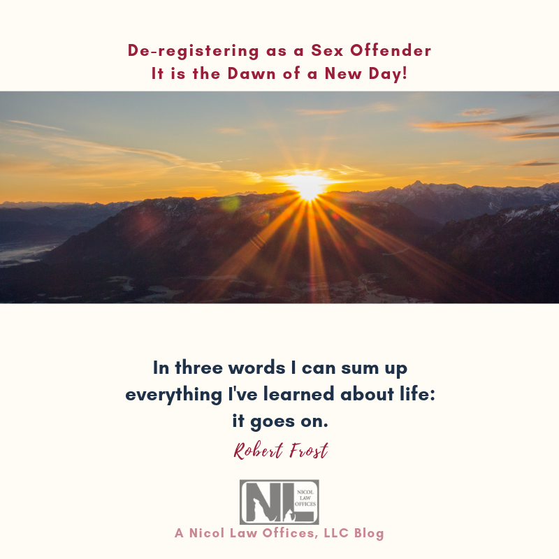 Sunrise over the mountain; dawn of a new day; deregistering as a sex offender; Nicol Law Offices Blog; Attorney; Law Firm; Criminal Defense