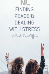 Finding Peace & Dealing with Stress; Two Girls Giving Peace Sign; Nicol Law Offices; Stress Awareness Week Blog