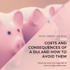 Costs and Consquences of DUI; Nicol Gersch Blog; Piggy Banks