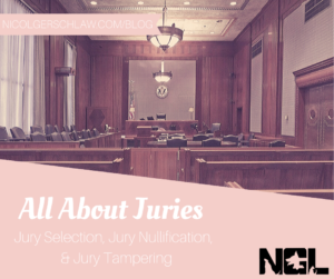 All about juries: jury selection, jury nullification, jury tampering; courtroom scene with Nicol Gersch Petterson logo